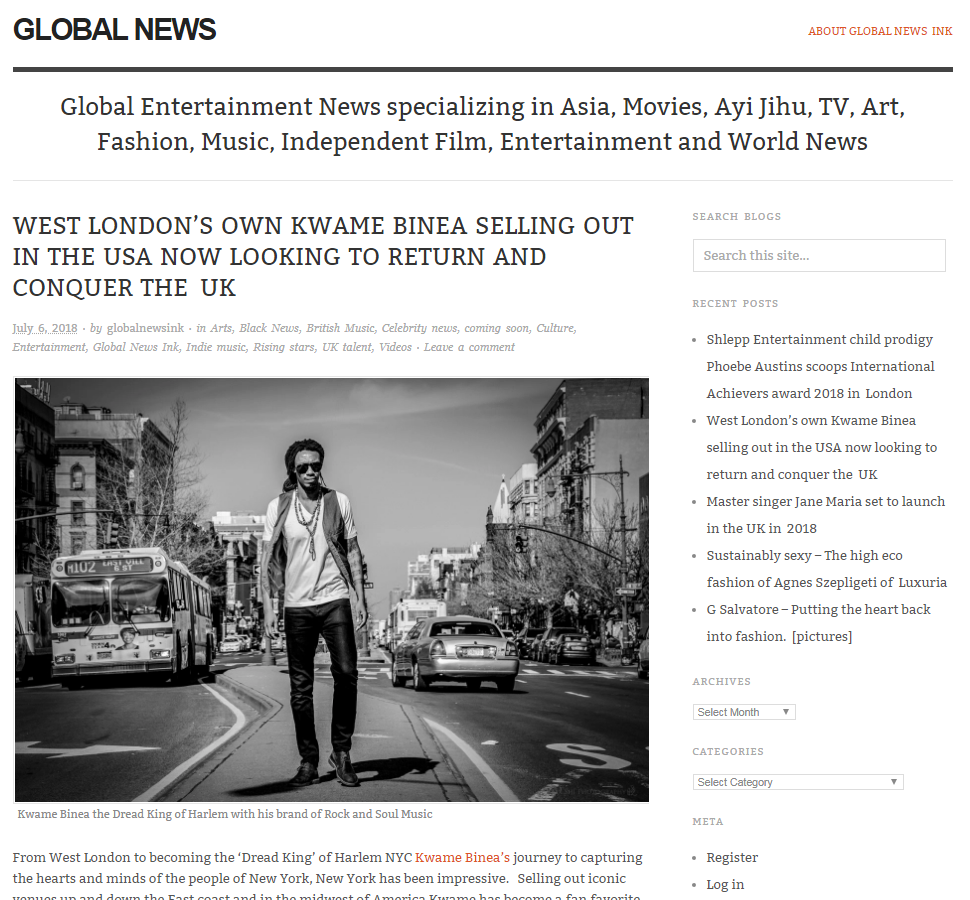 Kwame Binea Global News Ink story
