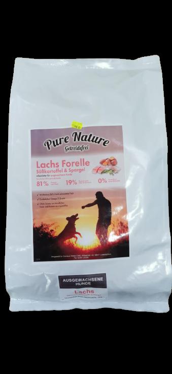 Pure Nature Lachs mit Forelle, Süßkartoffel & Spargel