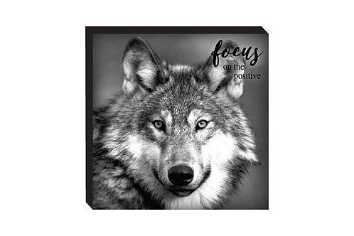 Block Art – Wolf, Focus on the Positive