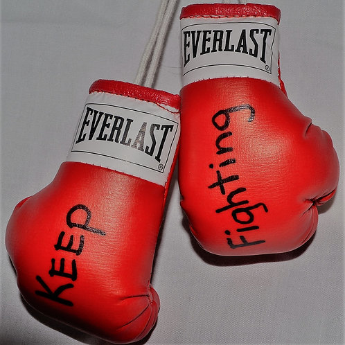 Keep Fighting Boxing Gloves, miniature size, signed by our Cancer Warrior.
