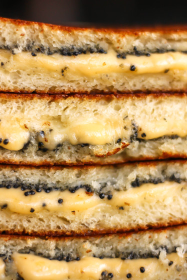 Grilled Cheese Panini with Caviar.