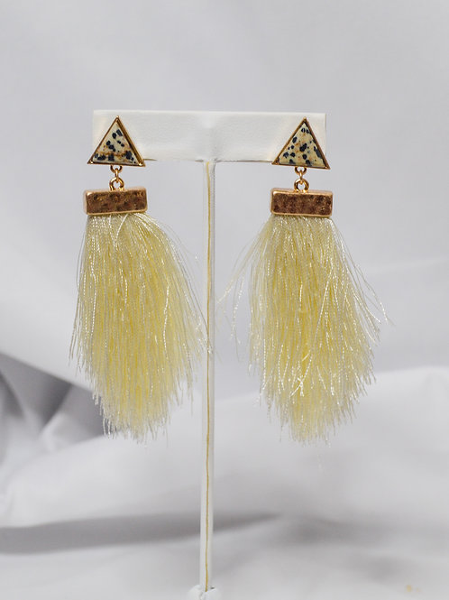 Triangle Stone Long Tassel Earrings