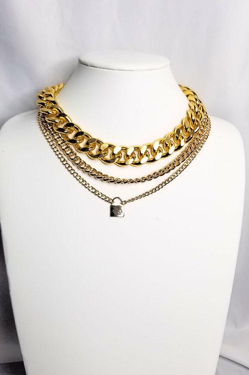 Triple Chain Choker - Gold