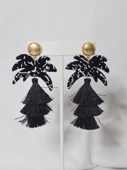 Palm Tree Tassel Drop Earrings