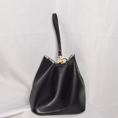 2Way Top-Handle Shoulder Bag - Black