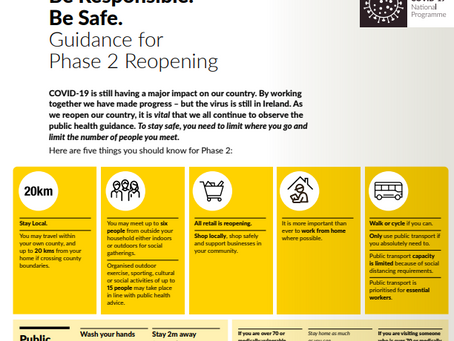View Phase 2 of Ireland's Roadmap for reopening which is in place right now