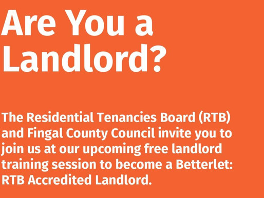 RTB And Fingal County Council Offer Free Training To Dublin Landlords As Part Of Betterlet: Accredit