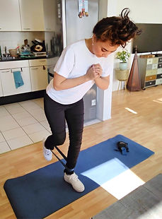 Home personal training. Glutes with bands. Rehabilitation.