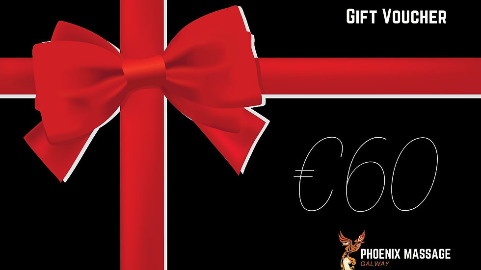 €60 gift voucher - Value 1 hour massage