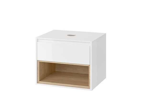 WALL HANGING CABINET WITH THE TOP WHITE/OAK