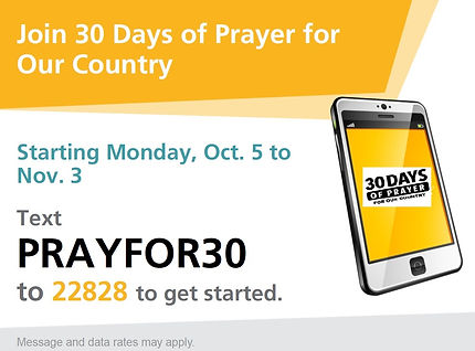 30 Days of Prayer Text2Join Sign with Lo