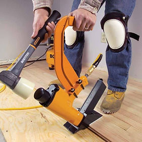 Nailing Down solid wood or strip floor This type of method is used primarily when installing a solid wood floor. This option requires that your home have either plywood or wafer board/OSB on the sub-floor. The name says it all. Nailing gives you a deck-like style floor. Generally speaking, whether you opt for a glued or nailed floor is a matter of personal preference, except for the rare cases when the wood type requires nailing rather than gluing. Using nails to fasten down the flooring is advisable in the case of hardwood with thickness of about 3/4 of an inch. Getting the flooring stapled down in place is just another type of nailing. The advantage of having your floor stapled down is the process is easier and much quicker and is vastly preferred.