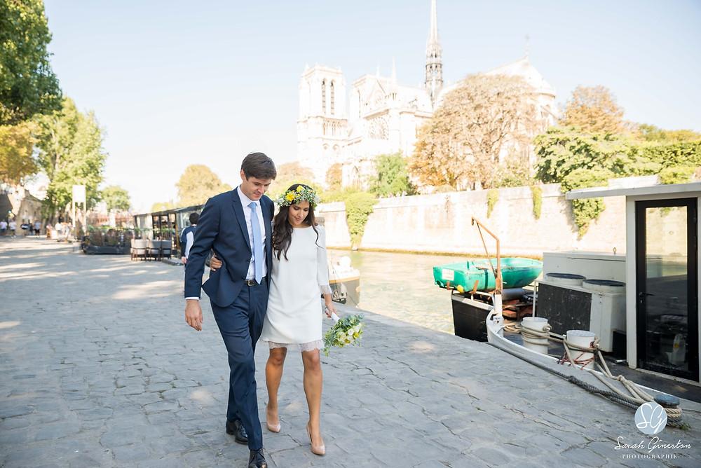 Photographe mariage Paris La Nouvelle Seine péniche Notre Dame de Paris