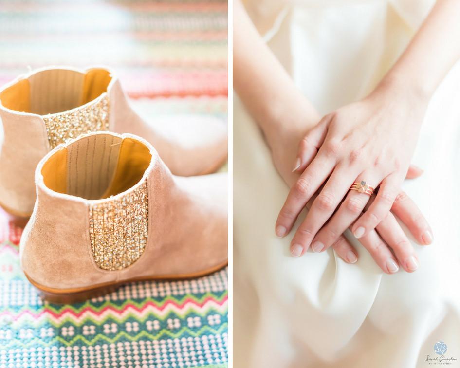 Photographe mariage Paris préparatifs mariée bague de fiançailles chaussures