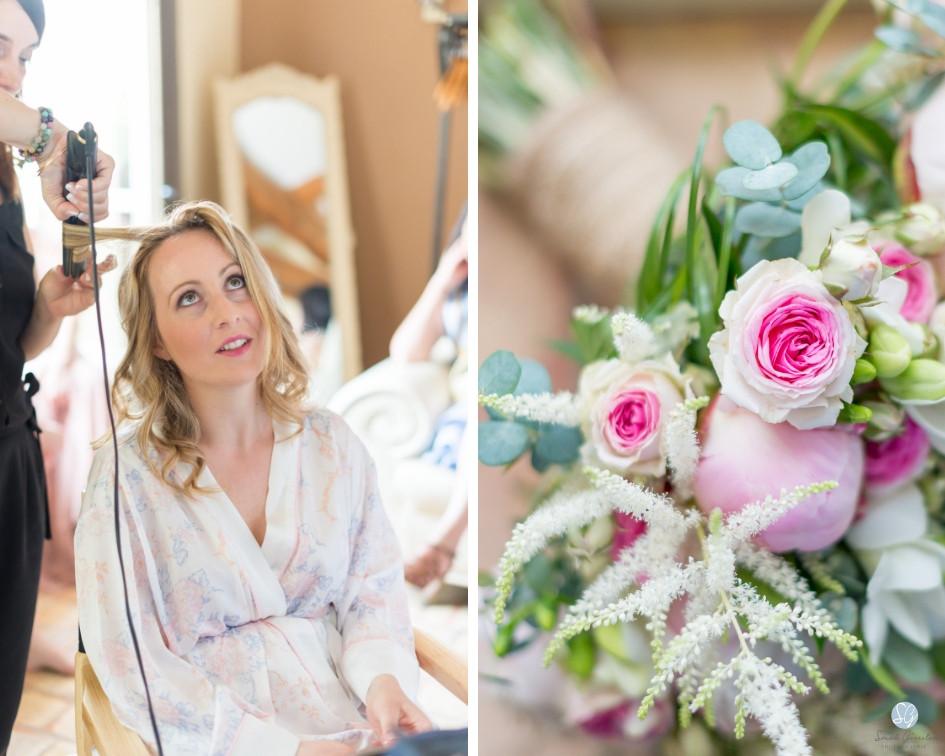 Photographe mariage mariée maquillage préparatifs fleurs Mas de Loisonville Grillon Provence Savoie Haute-Savoie