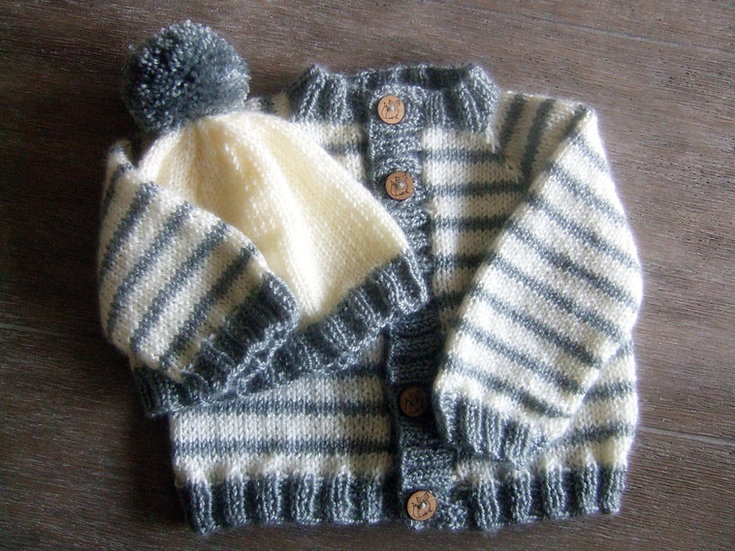Newborn Striped Sweater and Hat Set with Fox Buttons