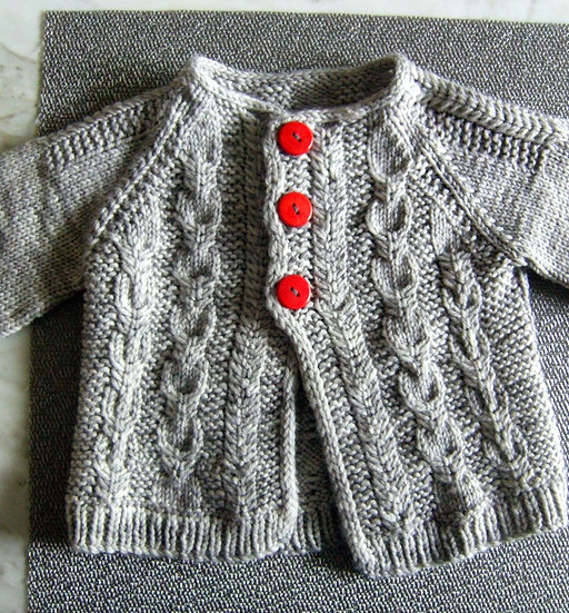 Tiny Cable Cardigan with Red Buttons