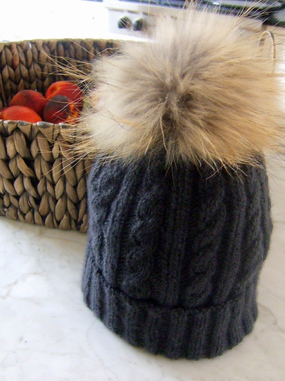 Luxury Cable Hat with Fur Pom Pom