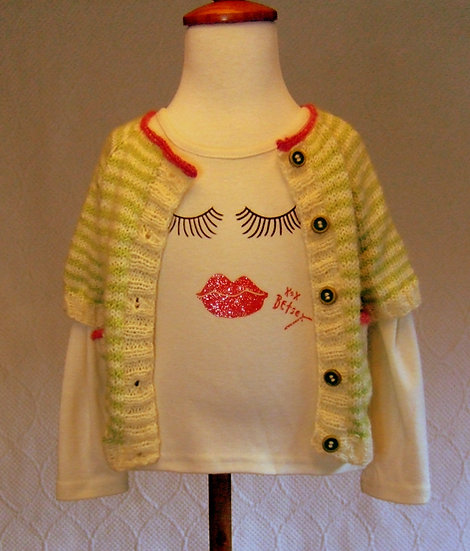 Lightweight Spring Striped Cardigan w/Pockets (Betsey Johnson T-Shirt Included)