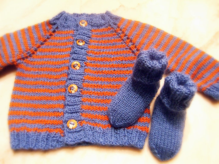 Newborn Striped Sweater and Booties