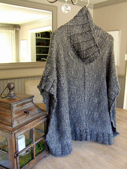 Soft and Textured Poncho with Cowl Neck