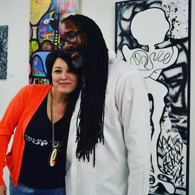 With friend, artist, curator Kortez