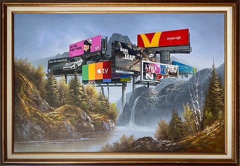 'Cost Per Impression' - Original Oil on Found Art by Dave Pollot