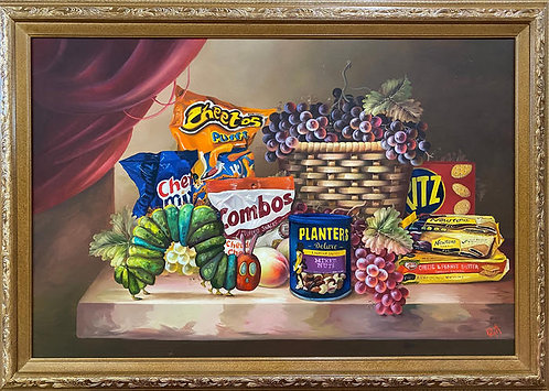'The Very Snacky Caterpillar' - Original Oil on Found Art by Dave Pollot