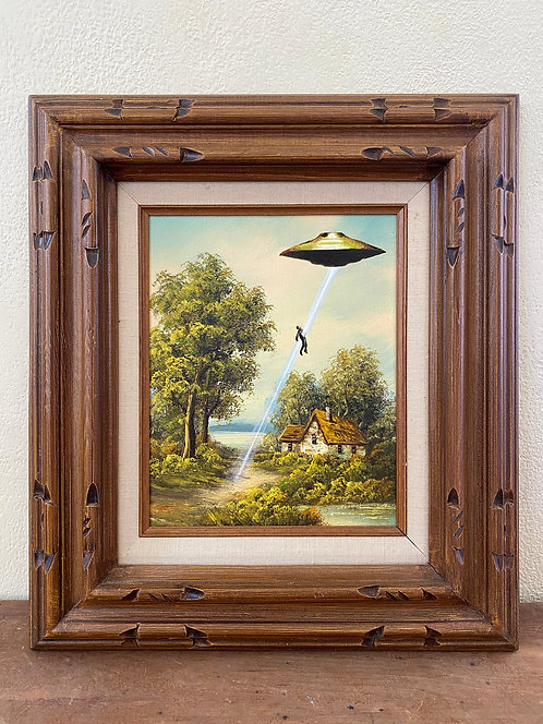 'Still Want to Believe?' - Original Oil on Found Art by Dave Pollot