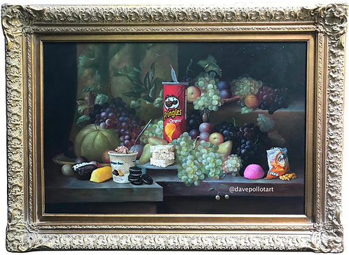 'Calorie Composition II' - Original Oil on Found Art by Dave Pollot