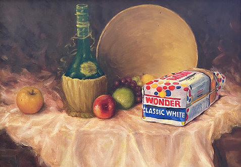 'Processed and Enriched' - Original Oil on Found Art by Dave Pollot