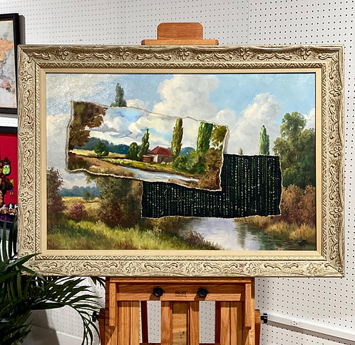 'Glitch II' - Original Oil on Found Art by Dave Pollot