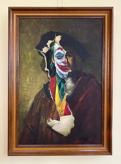 'The Comedy of Tragedy' - Original Oil on Found Art by Dave Pollot