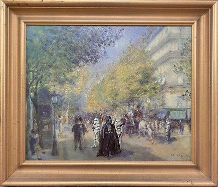 'Le Cote Sombre de la Rue' - Original Oil on Found Art by Dave Pollot