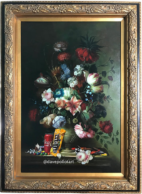 'Calorie Composition III' - Original Oil on Found Art by Dave Pollot