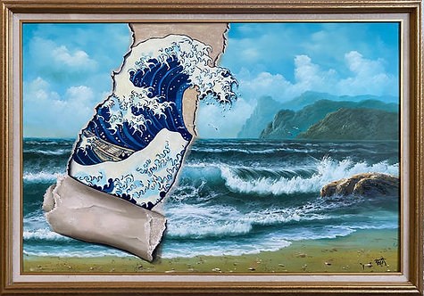 'Second Wave' - Original Oil on Found Art by Dave Pollot