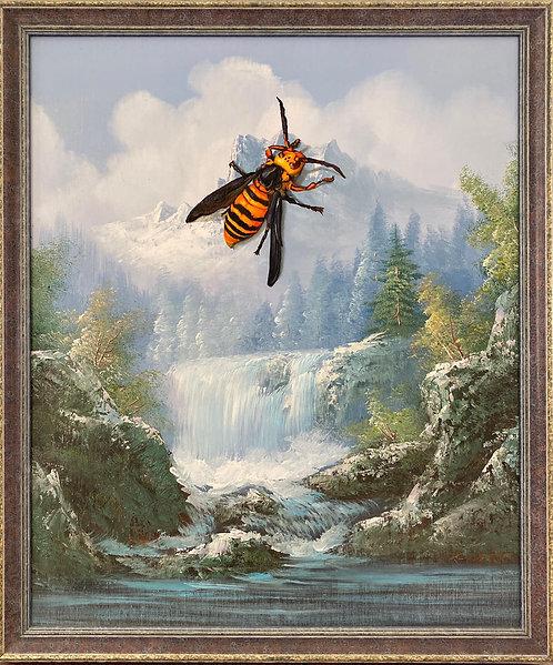 'Buzz Kill' - Original Oil on Found Art by Dave Pollot