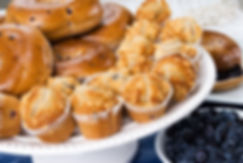 bagels and muffins made with blueberries