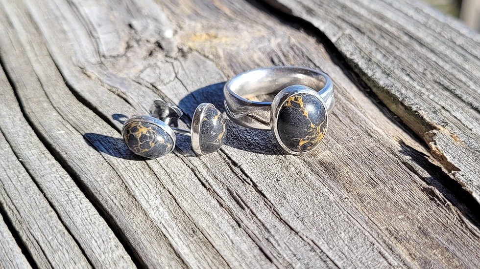 Gray Turquoise Sterling Silver Earrings and Ring