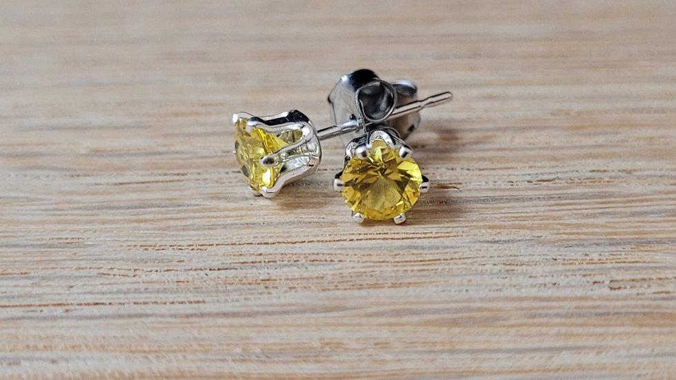 Sterling Silver Genuine Citrine Stud Earrings