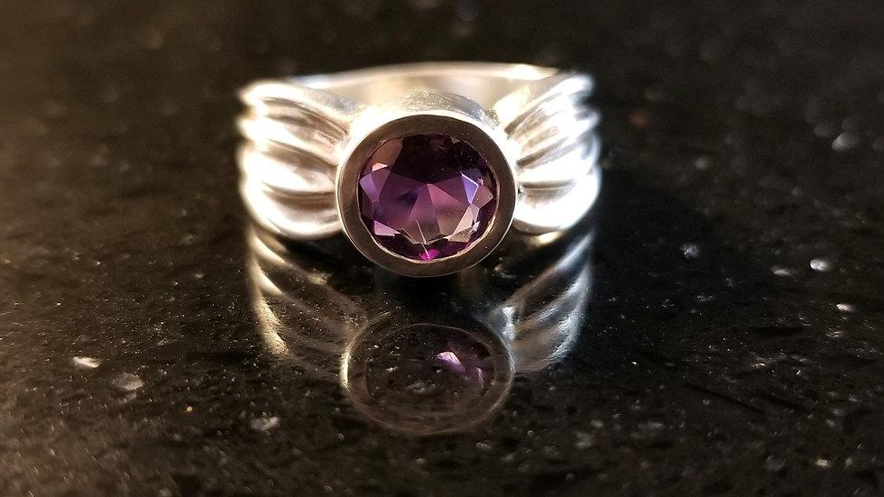 Amethyst Genuine Gemstone Sterling Silver February Birthstone Ring