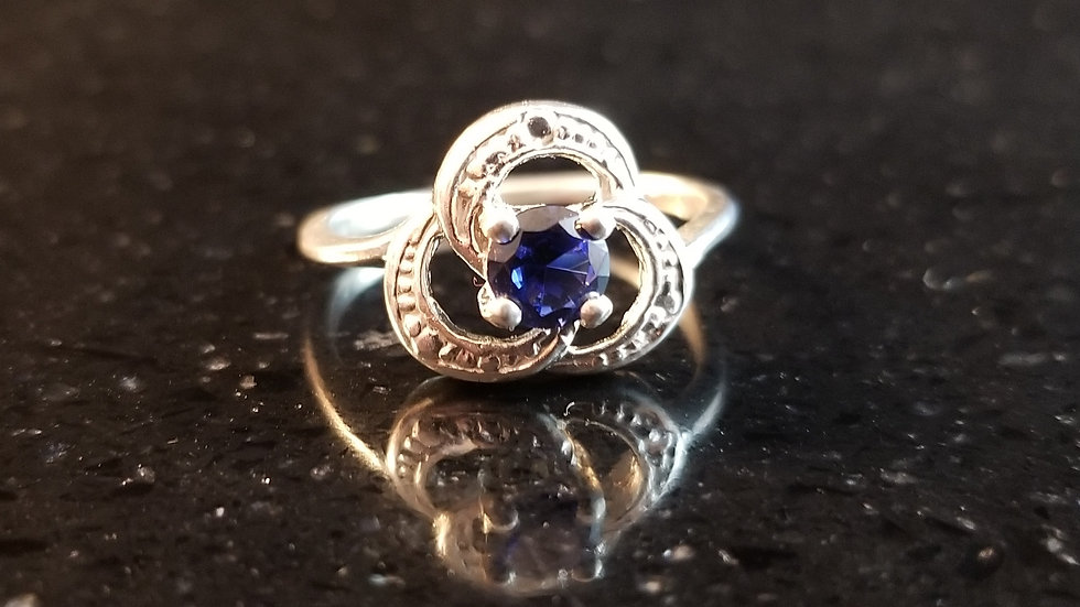 Sapphire Created Blue Sterling Silver Ring September Birthstone Clover