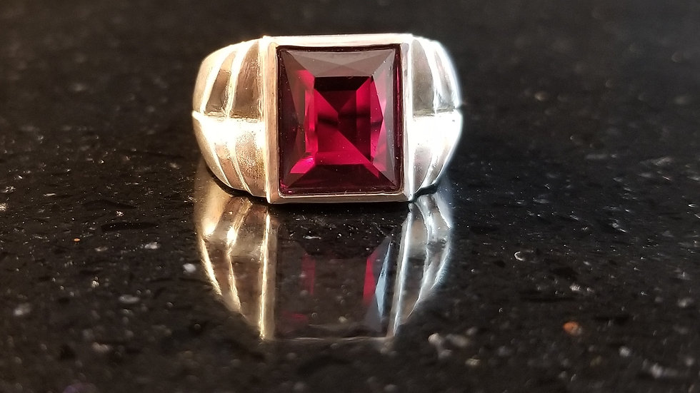Garnet Genuine Upcycled Gemstone Sterling Silver Ring January Birthstone