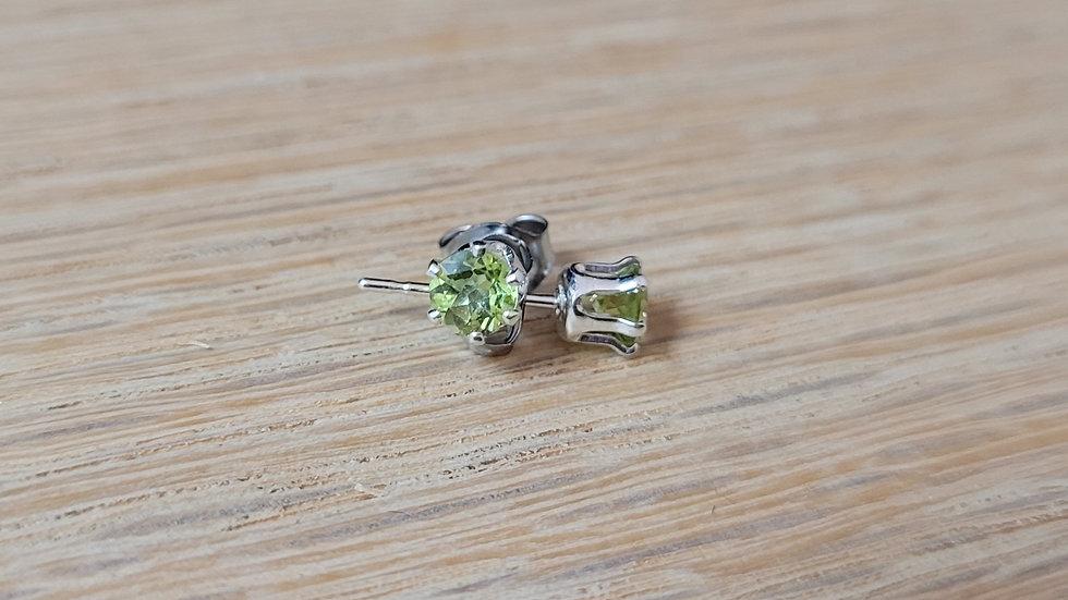 Sterling Silver Created Peridot Stud Earrings