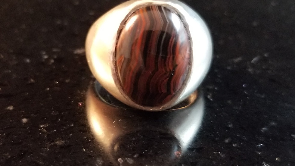 Agate Natural Striped Agate Sterling Silver Ring