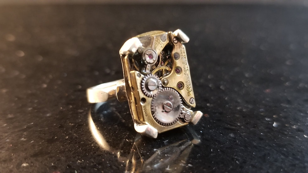Steampunk Watch Movement Sterling Silver Ring