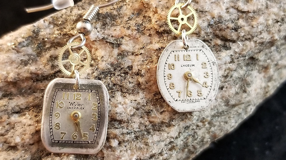 Mismatched Watch Dial Watch Part Upcycled Watch Gear Earrings