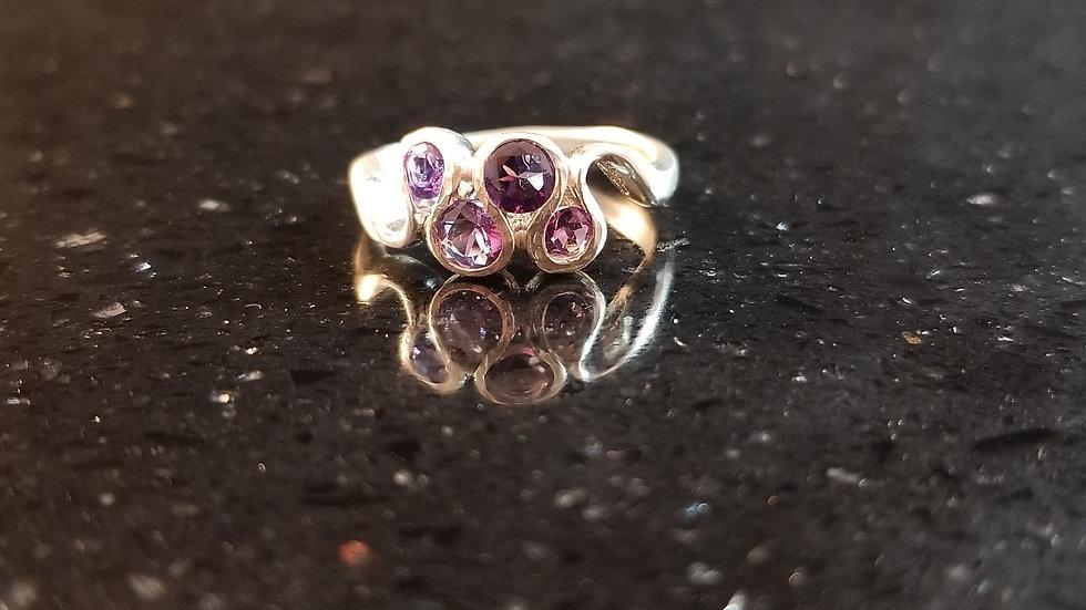 Amethyst Multi Stone Sterling Silver Ring February Birthstone Ring