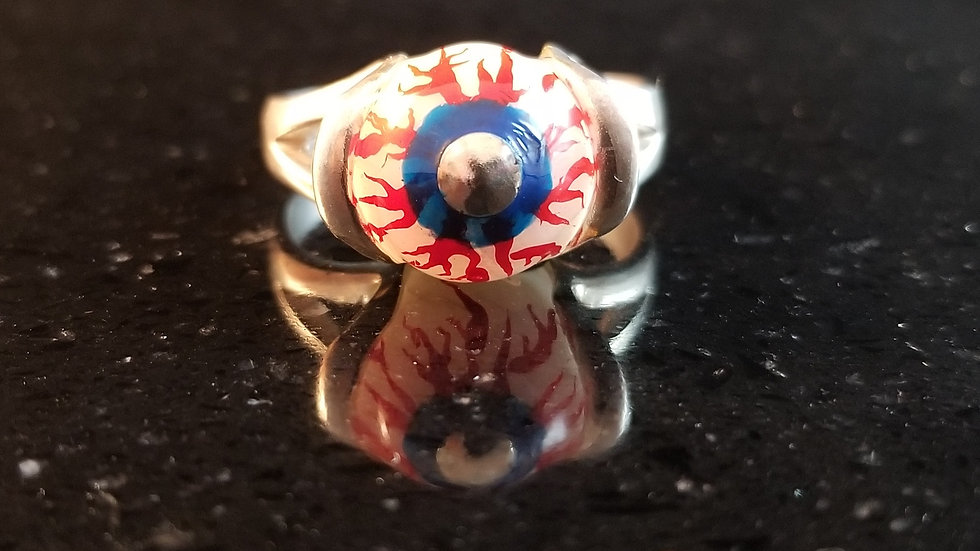 Eyeball Sterling Silver Pearl Bead Ring