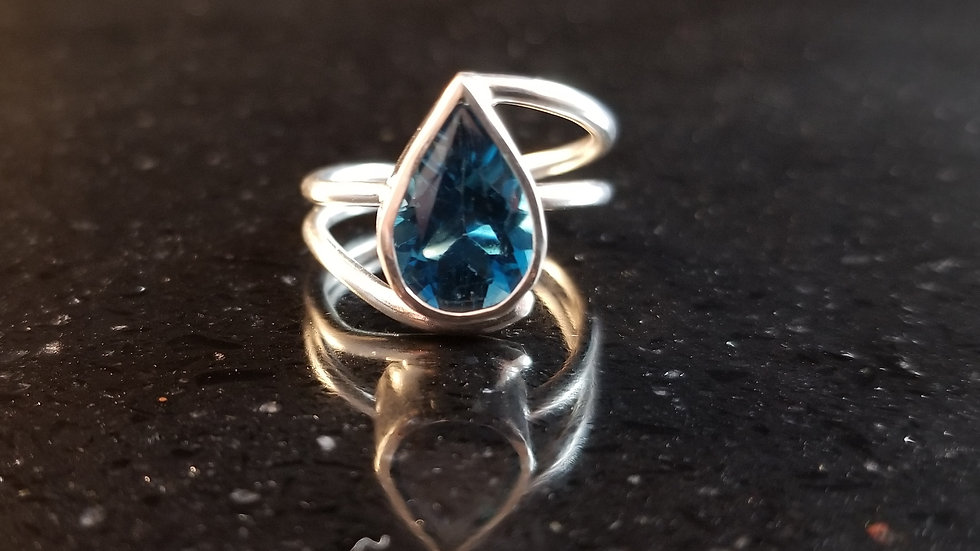 Topaz  London Blue Topaz Sterling Silver Ring December Birthstone
